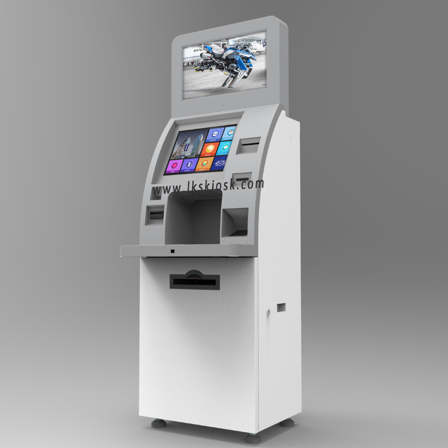 Indoor Self Service Kiosk Dual Touch Screen For Social Insurance Department
