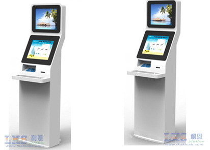 Freestanding Self Service Kiosk Touchscreen With Passport Reader For Airport