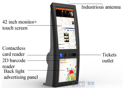 IR Touch Screen self service Ticket Machine Back LED Light Advertising Panel